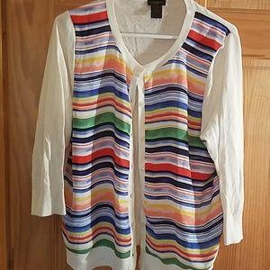 Ann Taylor striped cardigan sz XL